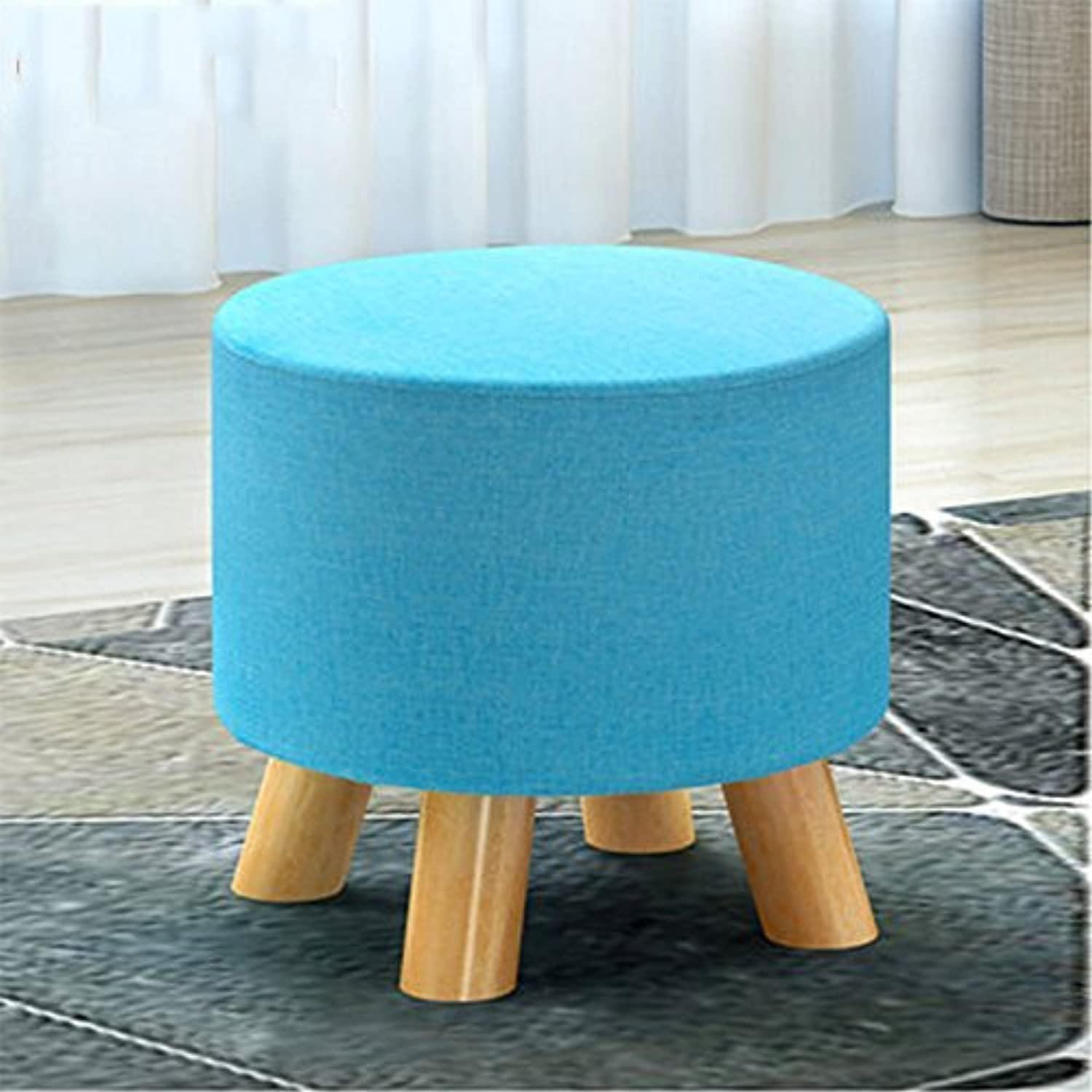 Lil Round bluee Fabric Splicing Sofa Solid Wood Pouffe Fashion Home Small Bench Pier shoes 29 X 27 cm