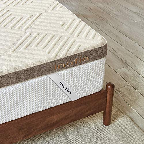Inofia Sleep Double Mattress Topper Gel Memory Foam,3' GELEX Bed Topper with Washable Cover, Breathable Comfort | Keep Cooling, 2 Layer Foam Topper for Pressure Relief,100-Night Home Trial(135x190cm)