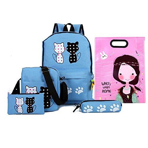 Schoolrugzak, Japanse stijl, 4 stuks/set voor dames, schooltas, indrukwekkende kat, leuke print voor adolescenten, meisjes, reistas, rugzakken, geschenken