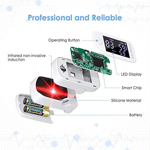 51GqFOmhrBL - Oxímetro de dedo profesional KKmier Saturometer Oxímetro de pulso con pantalla LED Medición portátil de SpO2 PR PI para adultos Niños de edad avanzada (baterías y cable)
