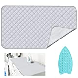 JOYSOG Ironing Mat for Table Top with Iron Rest Pad,Portable Travel Ironing Blanket,Foldable Thickened Heat Resistant Ironing Pad Cover for Dryer Countertop