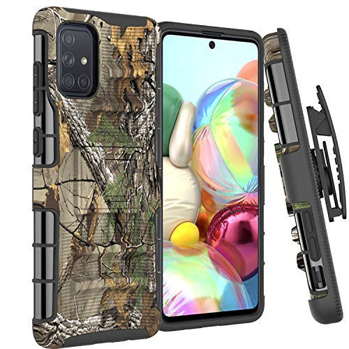 CoverON Holster Cover Designed for Samsung Galaxy A51 Case, Rugged Belt Clip Kickstand Dual Layer Outdoor Phone Armor - Camo