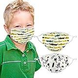Atalpha Toddler Face Mask (2 Pack) Cute Dinosaur & Alligator Design - 3 Layers, Washable, Reusable, Adjustable Nose Bridge and Ear Loops   Bonus: Storage Bag