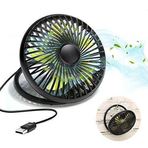 USB Ventilator, MECO ELEVERDE 6 Zoll 5V/3W Mini Desktop-Lüfter/Fan/Tischventilator klein Tragbar mit 2-Leistungsstufen - Schwarz