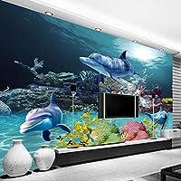 3D写真の壁紙地中海スタイルの海の世界サンゴイルカの家の装飾壁画リビングルームのテレビの背景の壁紙-250x175cm