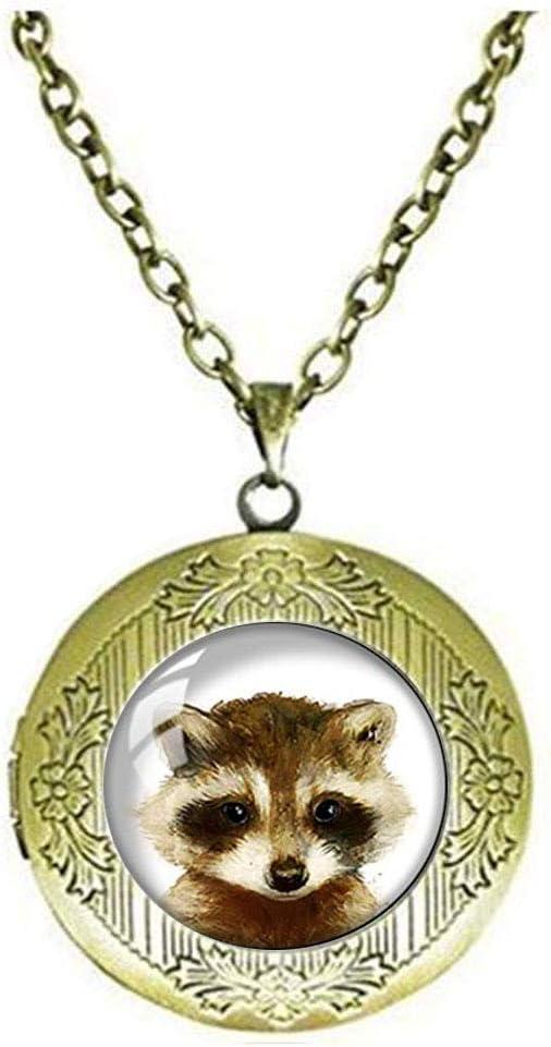 Retro Handmade Glass Dome Locket Necklace,Baby Raccoon Locket Necklace