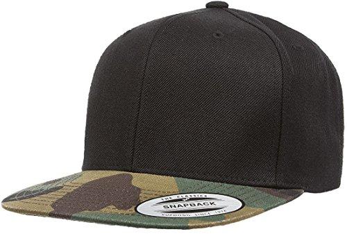 6089M Classic Snapback Pro-Style Wool Cap by Flexfit, Black/Camo, One Size