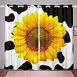 Homewish Cortina de girasoles para niñas, diseño de vacas, color blanco y negro, para decoración de dormitorio, decoración de plantas, paneles decorativos para ventana, 167,6 x 228,6 cm