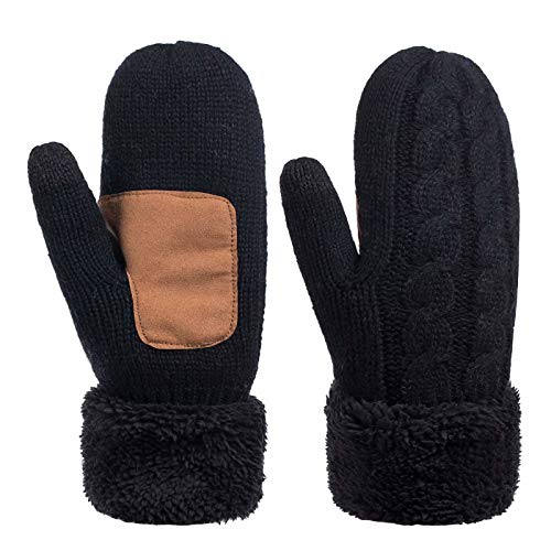 Winter Wool Mitten Gloves For Women, Warm Knit Touchscreen Thermal Cable Gloves With Thick Fleece Lining (Black)