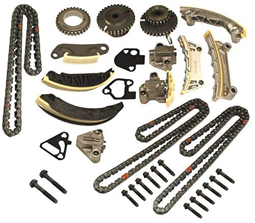 Timing Chain Kit w/Chain Guide Tensioner Sprocket for Buick Enclave Lacrosse Cadillac CTS SRX Chevy Equinox Malibu Traverse GMC Acadia Replace # 9-0753S