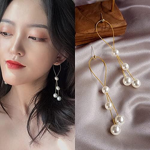 FEARRIN Pendientes Vintage para Mujer Pendientes Colgantes de Resina con Perlas Joyas Pendientes de Borla con Cadena chapada en Oro para Mujer Regalos Aguja-1