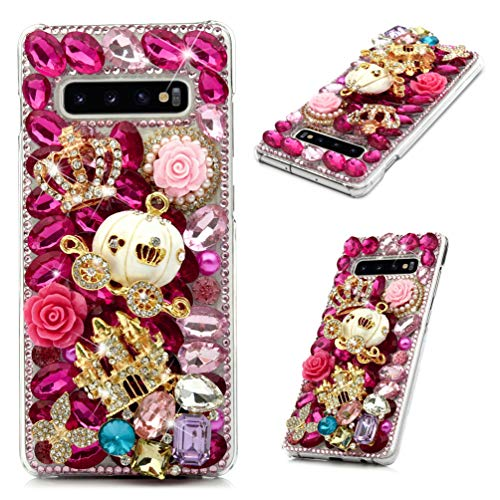 Mavis's Diary Compatible Samsung Galaxy S10 Plus Case - 3D Handmade Luxury Bling Crystal Golden Castle White Pumpkin Carriage Pink Shiny Diamonds Glitter Rhinestones Gems Clear Hard PC Cover