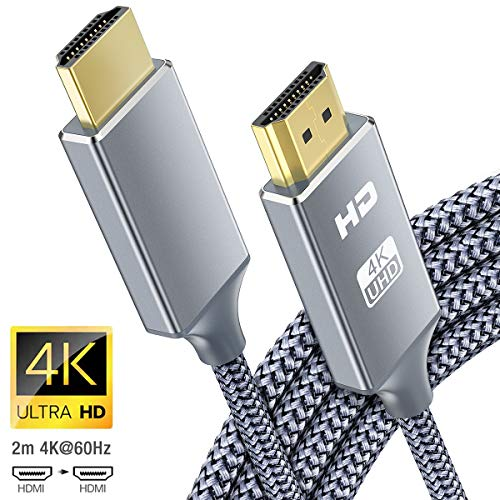 Cavo HDMI 4k Ultra HD [2m],Cavi HDMI 2.0 alta velocità Supporta Ethernet 3D,4K e ritorno audio-2160p Full HD 1080p 3D,Blu-Ray,Xbox 360 TV, Playstation