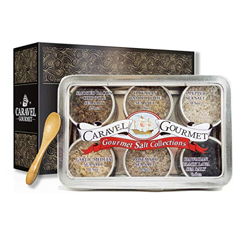 The Infused Sea Salt Sampler - 6 Resuable Tins with Bamboo Spoon - A Gift for Everyone - Hawaiian Bamboo Jade, 5 Pepper, Garlic Medley, Rosemary, and Hawaiian Black Lava - 1/2 oz each (3 oz total)