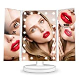 HAMSWAN [2020 Édition Miroir Maquillage] Miroir Grossissant Triptyque avec 21pcs LED, Miroir Lumineux 2X/3X/10X avec Ecran Tactile, Alimentation Double, Rotation Réglable à 180 °