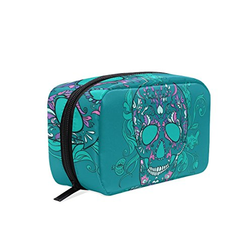COOSUN Vector Sugar Skull With Ornament Cosmetic Pouch Clutch Makeup Bag Travel Organizer Case Toiletry Pouch for Women