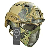 QZY Casco Táctico Rápido con Protección del Oído Máscara de Acero y Gafas Set para Airsoft Paintball Protector Anti-Riot Casco Ligero,DW