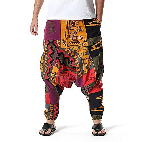 better daily life Pantalones Harem para Hombre Pantalones Hippie Holgados para Hombre Boho Gypsy Yoga Hippie Pantalones
