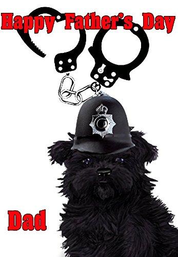 Tarjeta de felicitación Affenpinscher Dog Policía esposas nfd125 Divertidas y bonitas Feliz Día del Padre, tamaño A5, personalizadas por US regalos para todo 2016 de Derbyshire UK