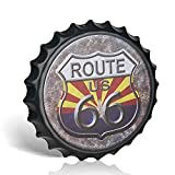 不适用 Route 66 - Tapa para botella (metal, estilo vintage, para decoración de pared, diseño retro