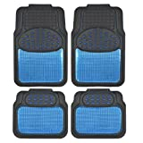 BDK Metallic Rubber Floor Mats for Car SUV & Truck - Semi Trimmable, 2 Tone Color Heavy Duty Protection(Blue/Black)