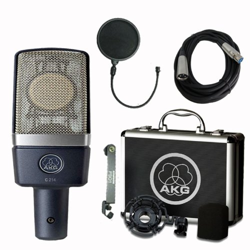 AKG C214 Large Diaphragm Condenser Microphone with Samson Pop Filter and Cable