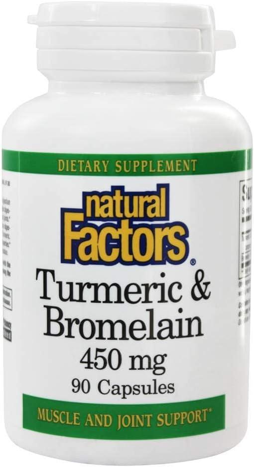 Natural Factors Finally resale start Turmeric Bromelain 450mg Capsules Recommendation 90