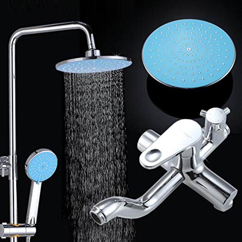 LWUDI Duscharmatur Regendusche Duschsystem, Handheld Drucksteigerung Dusche nehmen Dome-Düse, alle Bronze Hubstange Wasserkocher Mischventil Dusche Set, Regendusche Combo Set