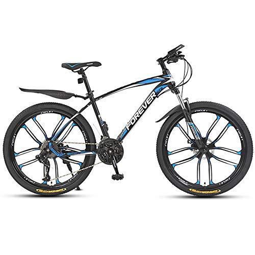 Jungen-Herren Fahrrad, 26 Zoll Mountainbike Fahrrad, Mountainbike,30Gangschaltung,Gabelfederung, Jungen-Mädchen-Fahrrad & Herren-Damen-Fahrrad,Blau,ten cutter wheel