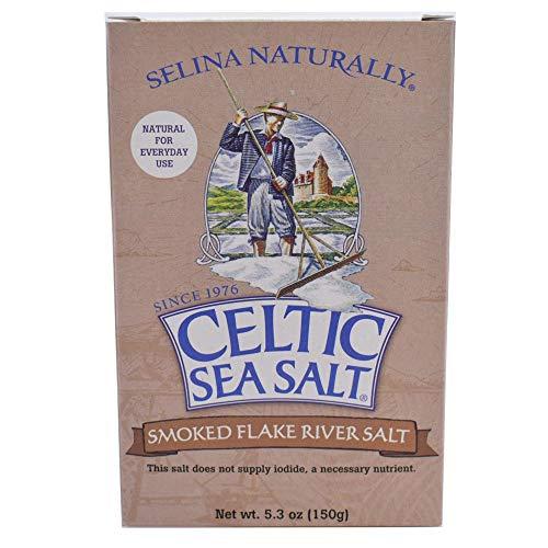 Celtic Sea Salt Fossil River Smoked Flake Salt 5.3 Oz (150 G), Natural, Slowly Smoked Over Oak, Handcrafted, Gourmet, Salt Flakes, Salty, 5.3 Oz