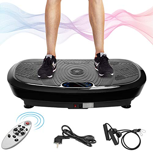 Merax Vibrationsplatte mit Leisem Motor,LCD Display,5 Trainingsprogramme 180 Stufen,Bluetooth Lautsprecher,Inkl. Fernbedienung, Trainingsbänder,belastbar bis 150 kg (Schwarz_A)