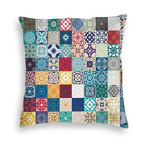 FONDSILVER - Funda de almohada de cerámica marroquí con diseño de baldosas de Talavera mexicana, de terciopelo suave, cuadrada, decorativa, para coche, sofá, cama, decoración de Navidad, terciopelo, negro, 24'x24'