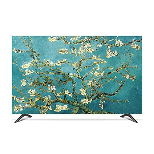 Yinian Paño Cubierta TV, Arrugas para Colgar En El Interior TV LCD Cubierta Polvo Tela Carcasa Impermeable Decoración para Televisores De 22 A 80 Pulgadas(Size:55 in,Color:B)