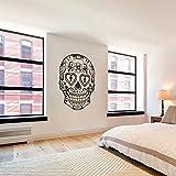 Vinilo adhesivo de pared, Sugar Skull–Calavera Mexicana de adhesivo de pared pared pared gráfico mural Home Art Decor Negro