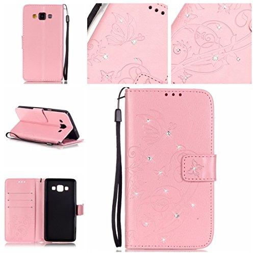 Jepson Samsung Galaxy A5 / SM-A500F (5 pollici) Case , in Pelle Flip Case Wallet Cover Con carte di credito slot Protettiva Portafoglio Caso , L'uso di tecnologie avanzate , Cristallo di diamante , fiori in rilievo , farfalle e di superficie ,