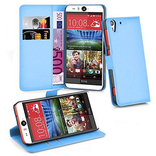 Cadorabo Hülle für HTC Desire Eye - Hülle in Pastel BLAU – Handyhülle mit Kartenfach und Standfunktion - Case Cover Schutzhülle Etui Tasche Book Klapp Style