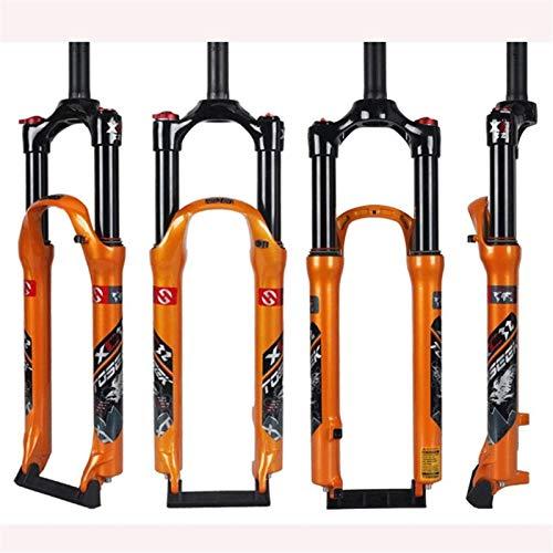 Bifurcación bicicleta ciclismo bicicleta frontal horizonte, bifurcación de la suspensión de bicicleta, control de doble hombro de tubo recto, amortiguador de gas de aleación de aluminio, freno de disc