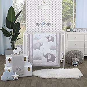 crib bedding and baby bedding nojo elephant stroll dream big clouds & stars with chevron border 3piece nursery mini crib bedding set - comforter, & two fitted mini crib sheets, grey, white, charcoal, blue