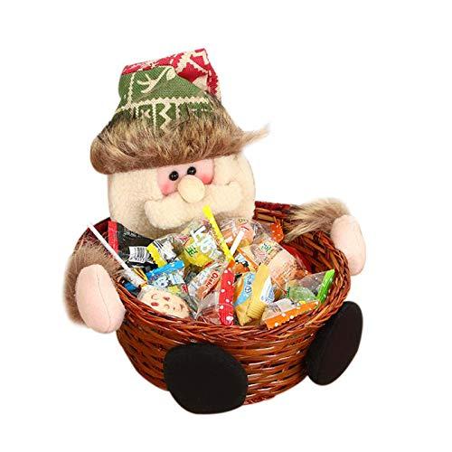 YDong Feliz Navidad Canasta de Mimbre para Dulces Decoraciones Navide?As Canasta de Frutas Soporte para Alimentos DecoracióN del Hogar, Viejo
