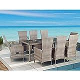 ArtLife Polyrattan Sitzgruppe Rimini Plus 9-teilig grau-meliert Gartenmöbel Set mit Tisch 8 Stühlen Kissen - 3