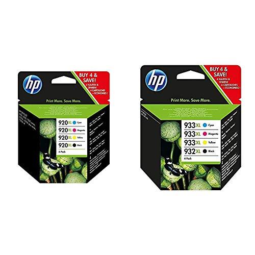HP 920XL C2N92AE, Negro y Tricolor, Cartuchos de Tinta de Alta Capacidad Originales, Pack de 4 + 932XL-933XL C2P42AE, Pack de 4, Cartuchos de Tinta de Alta Capacidad Originales Negro y Tricolor