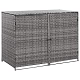 Canditree Outdoor Poly Rattan Storage Shed for Garbage Cans, Garden Patio Storage Shed Anthracite 58.3'x30.3'x43.7'
