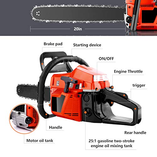 OppsDecor XP2300 58cc Gas Powered Chainsaw, 20 Inch 2 Stroke Handed Petrol Gasoline Chain Saw for Cutting Wood with Tool Kit,Garden Farm Home Use (US Stock) (Orange Cadmium)