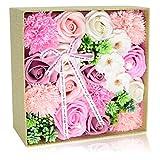 ソープフラワー 創意方形ギフトボックス 母の日 母へのプレゼント 母のために作ったカーネーションの花の箱です 誕生日敬老の日に最適なプレゼントです(ピンク)