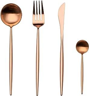 Flatware Cutlery Set, Morgiana 4-Piece Stainless Steel Flatware Sets Including Fork Spoons Knife Tableware Serving Set for Home,Hotel,Restaurant (Rose Golden)