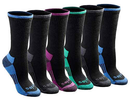Dickies Women's Dritech Advanced Moisture Wicking Crew Sock (6/12, Black Assorted (6 Pairs), Shoe Size: 6-9