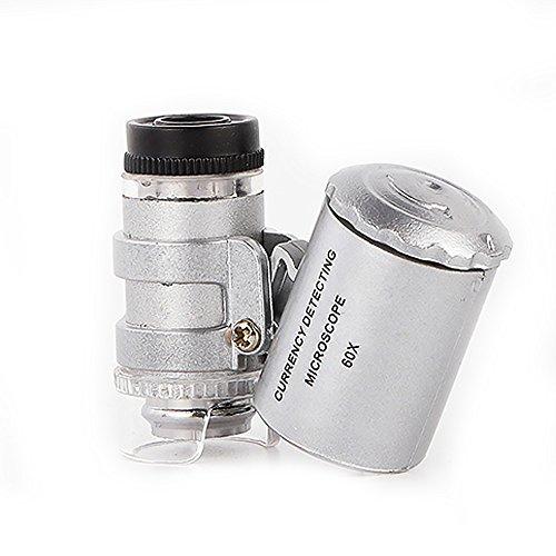 Microscopio Lupa de microscopio 60 X Magnifier de Jeweler LED LUZ UV A Pilas Monóculo