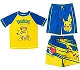 Pokemon Pikachu Little Boys 3 Piece Swim Rash Guard Swim Trunks Set 7 Yellow/Blue