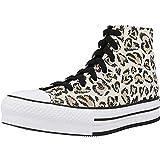 Converse - Zapatillas altas - Modelo Jungle Cats Chuck Taylor All Star - Color marrón y negro - Zapatillas de lona para niños, Marrón Driftwood, 37 EU