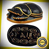 KARPP Egyptian Black Gold Scarab Amulet with Hieroglyphs Statue Symbol of Rebirth 3''L Perfect Indoor Collectible Figurines